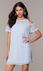 Image of cold-shoulder short shift graduation party dress. Style: AS-I708995A7R Front Image