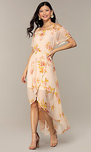 Image of peach-print high-low wedding-guest party dress. Style: AS-A120095F72 Front Image
