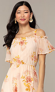 Image of peach-print high-low wedding-guest party dress. Style: AS-A120095F72 Detail Image 1