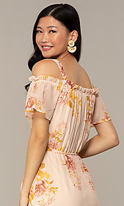Image of peach-print high-low wedding-guest party dress. Style: AS-A120095F72 Detail Image 2