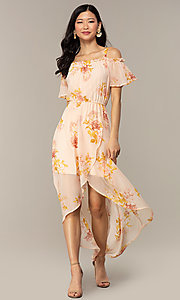 Image of peach-print high-low wedding-guest party dress. Style: AS-A120095F72 Detail Image 3