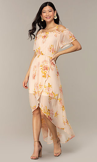 Wedding Guest High-Low Floral Print Dress