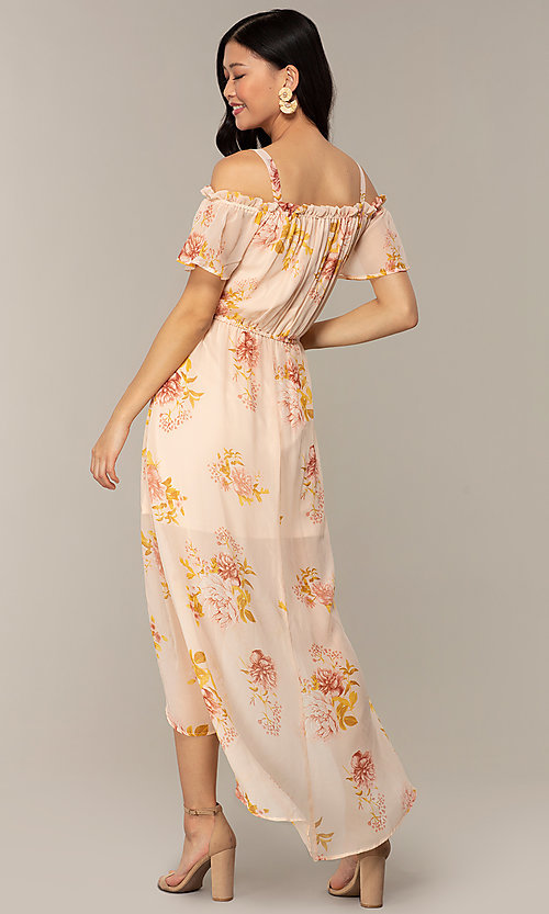 Image of peach-print high-low wedding-guest party dress. Style: AS-A120095F72 Back Image
