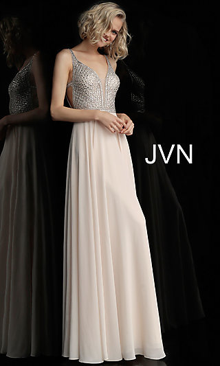 Deep V-Neck Formal Gown with an Open V-Back