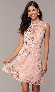 Image of floral-print lace graduation party short dress. Style: AS-A889206B84R Detail Image 4