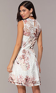 Image of floral-print lace graduation party short dress. Style: AS-A889206B84R Back Image