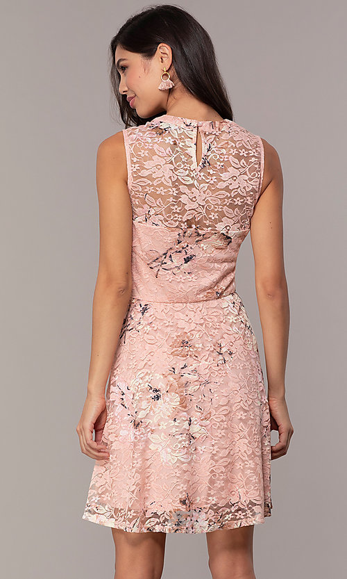 Image of floral-print lace graduation party short dress. Style: AS-A889206B84R Detail Image 5