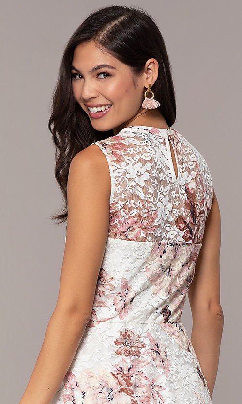 Image of floral-print lace graduation party short dress. Style: AS-A889206B84R Detail Image 2