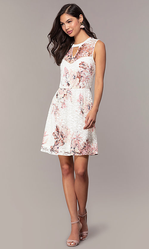 Image of floral-print lace graduation party short dress. Style: AS-A889206B84R Detail Image 3
