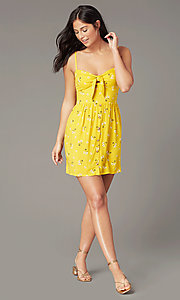 Image of floral-print casual wedding-guest dress in yellow. Style: AS-A166266B17 Front Image