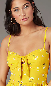 Image of floral-print casual wedding-guest dress in yellow. Style: AS-A166266B17 Detail Image 1