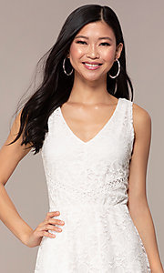 Image of off-white short v-neck lace graduation party dress. Style: AS-A16644C11 Detail Image 1