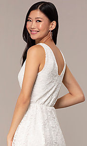 Image of off-white short v-neck lace graduation party dress. Style: AS-A16644C11 Detail Image 2