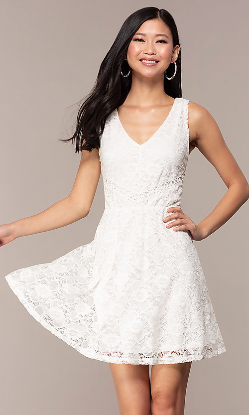 Image of off-white short v-neck lace graduation party dress. Style: AS-A16644C11 Front Image