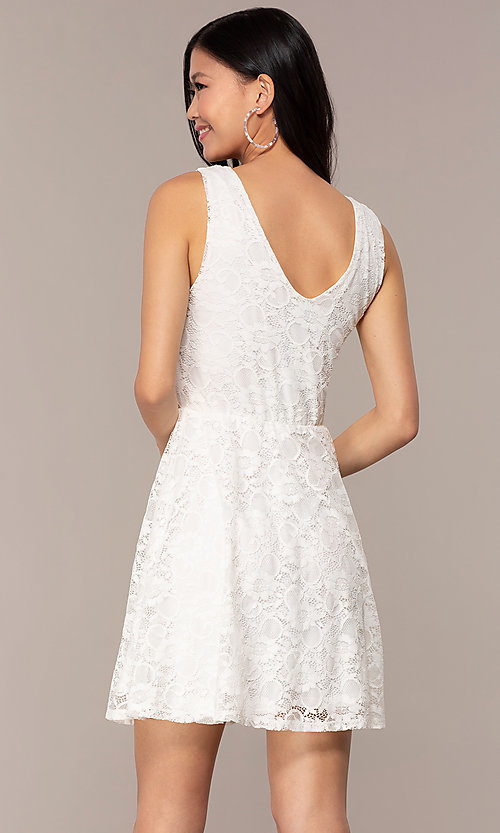 Image of off-white short v-neck lace graduation party dress. Style: AS-A16644C11 Back Image