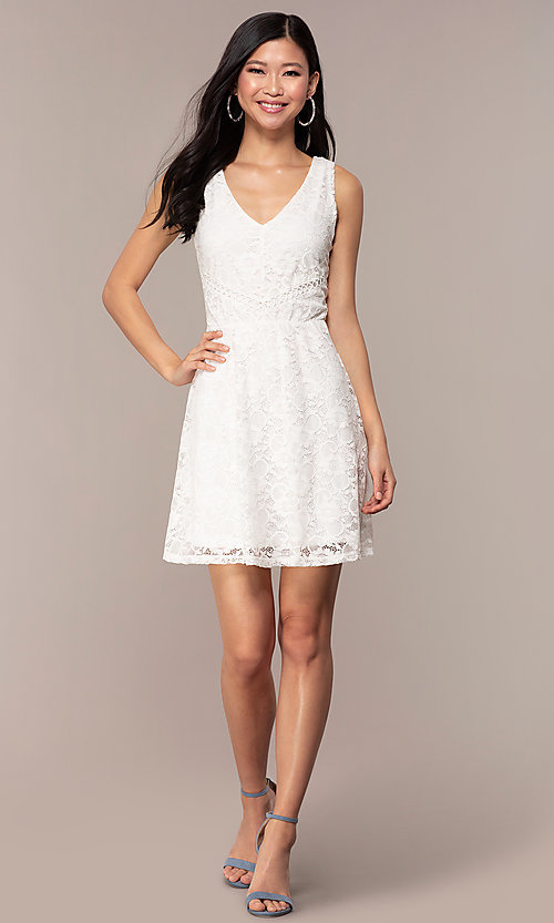 Image of off-white short v-neck lace graduation party dress. Style: AS-A16644C11 Detail Image 3
