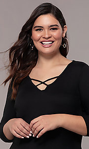 Image of plus-size short sheath party dress with sleeves. Style: AS-A1381U524X Detail Image 6