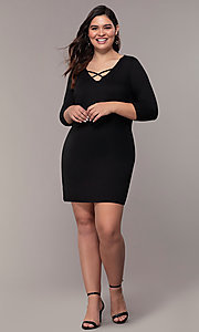 Image of plus-size short sheath party dress with sleeves. Style: AS-A1381U524X Detail Image 8