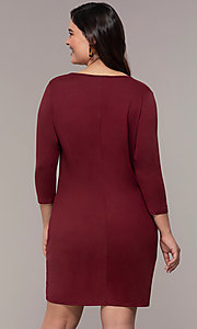 Image of plus-size short sheath party dress with sleeves. Style: AS-A1381U524X Back Image