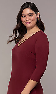 Image of plus-size short sheath party dress with sleeves. Style: AS-A1381U524X Detail Image 1