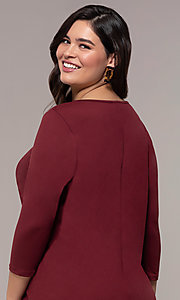 Image of plus-size short sheath party dress with sleeves. Style: AS-A1381U524X Detail Image 2