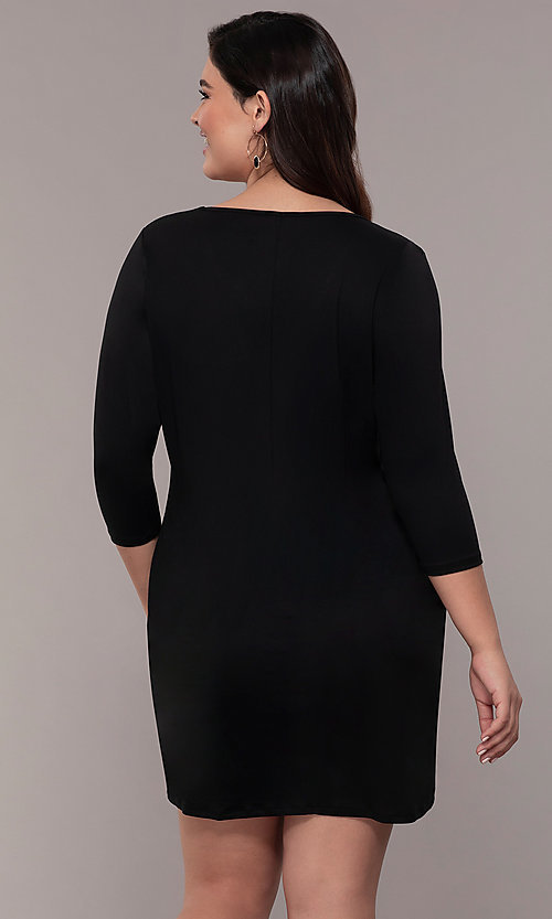 Image of plus-size short sheath party dress with sleeves. Style: AS-A1381U524X Detail Image 5