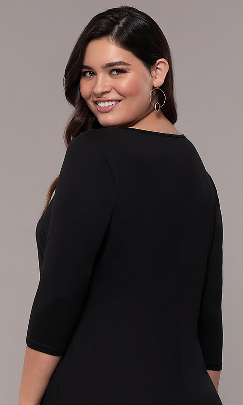 Image of plus-size short sheath party dress with sleeves. Style: AS-A1381U524X Detail Image 7