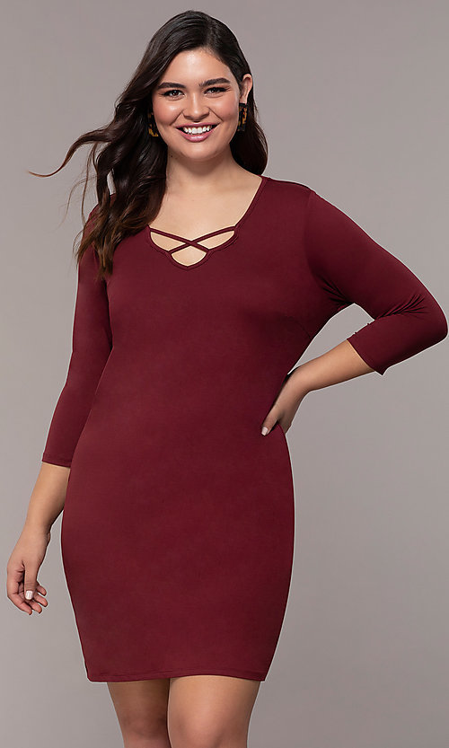 Image of plus-size short sheath party dress with sleeves. Style: AS-A1381U524X Front Image