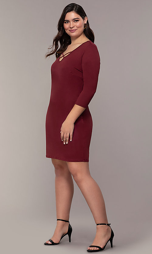 Image of plus-size short sheath party dress with sleeves. Style: AS-A1381U524X Detail Image 3
