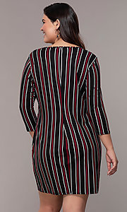 Image of short casual party shift dress with 3/4 sleeves. Style: AS-A1381U01E27X Back Image