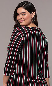 Image of short casual party shift dress with 3/4 sleeves. Style: AS-A1381U01E27X Detail Image 2
