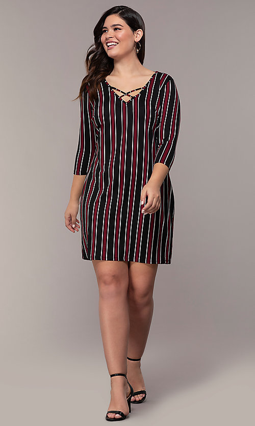 Image of short casual party shift dress with 3/4 sleeves. Style: AS-A1381U01E27X Detail Image 3