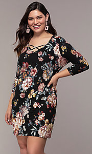 Image of floral-print 3/4-sleeve short plus party dress. Style: AS-A1381U01E26X Front Image
