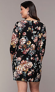 Image of floral-print 3/4-sleeve short plus party dress. Style: AS-A1381U01E26X Back Image