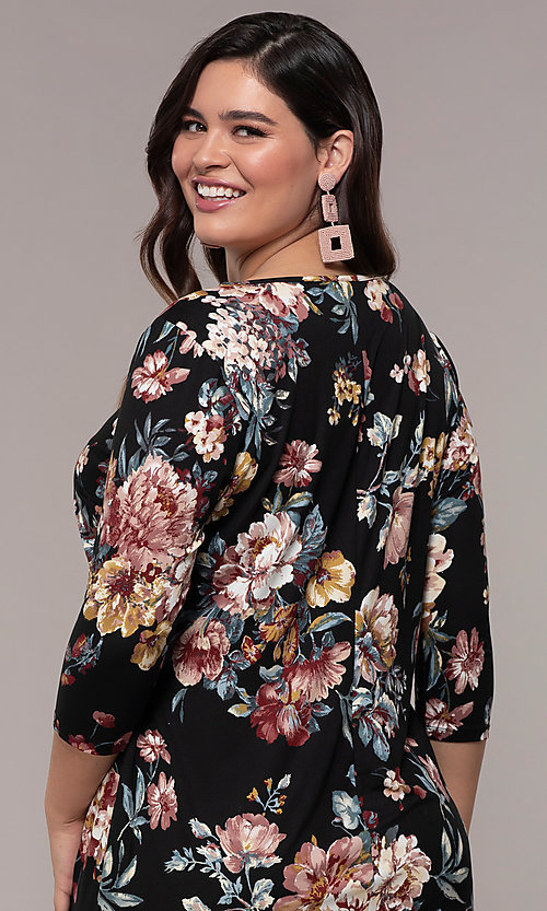 Image of floral-print 3/4-sleeve short plus party dress. Style: AS-A1381U01E26X Detail Image 2