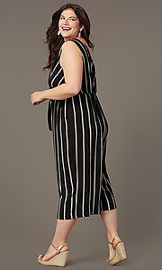 Image of plus-size party jumpsuit with v-neckline. Style: AS-A121347A40X Back Image