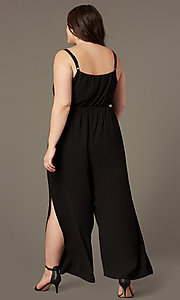 Image of plus-size v-neck wedding-guest jumpsuit. Style: AS-A9325106X Back Image