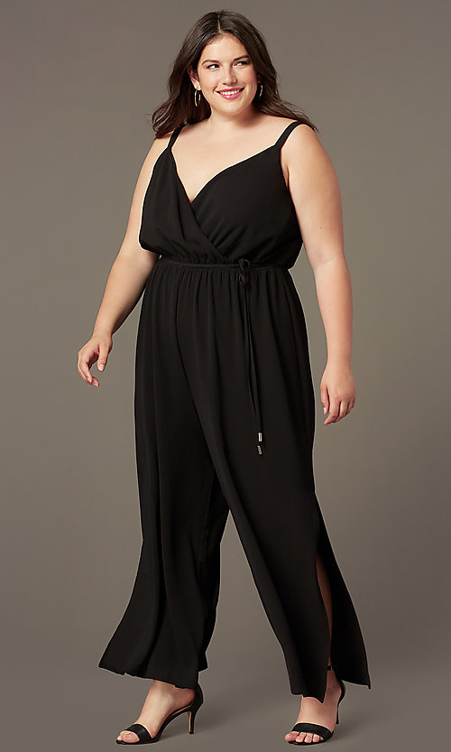 Image of plus-size v-neck wedding-guest jumpsuit. Style: AS-A9325106X Front Image