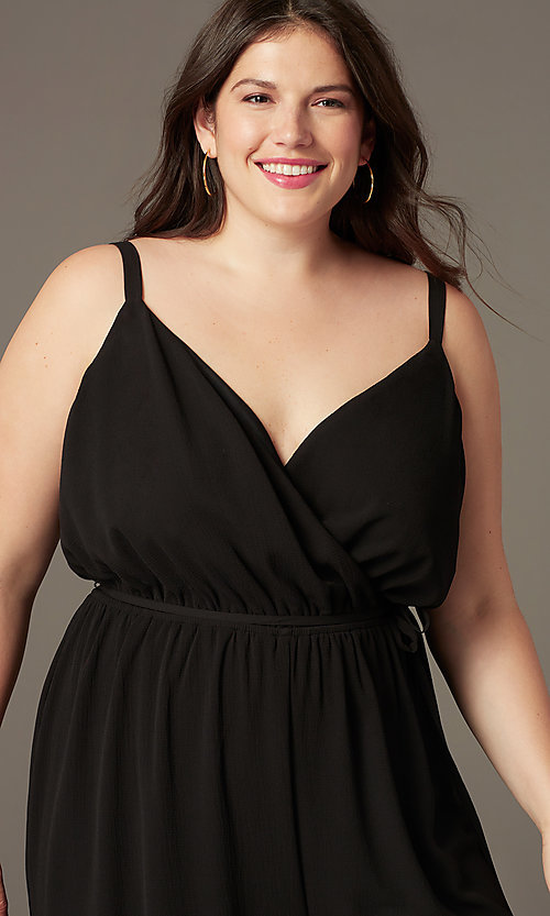 Image of plus-size v-neck wedding-guest jumpsuit. Style: AS-A9325106X Detail Image 1