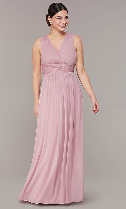 Image of rose pink long empire-waist wedding-guest dress. Style: JU-ON-650125 Front Image