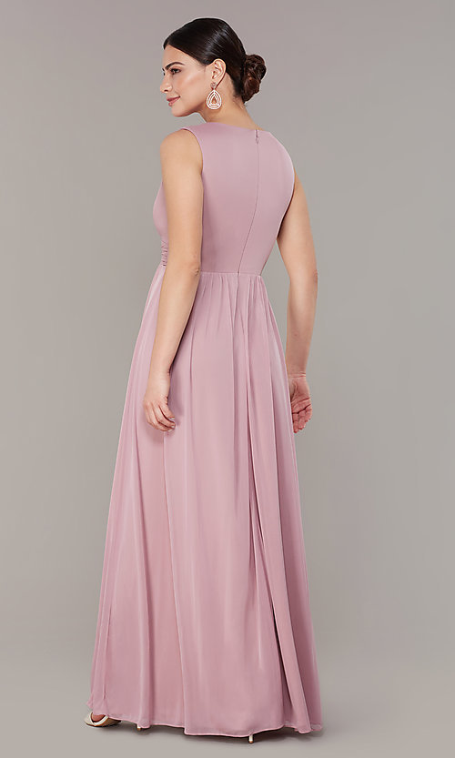 Image of rose pink long empire-waist wedding-guest dress. Style: JU-ON-650125 Back Image