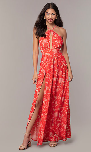 Print Sleeveless Wedding Guest Dress with a Cut-Out