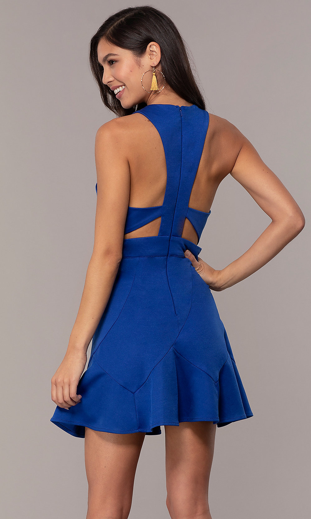 1bd4f008cf V-Neck Short Wedding-Guest Party Dress with Cut Outs