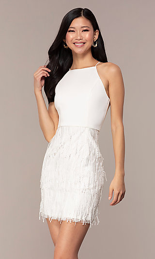 Short White Grad Dress with Embroidered Skirt