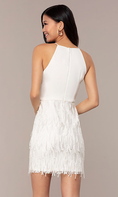 Image of short white grad dress with embroidered skirt. Style: MT-9407-W Back Image