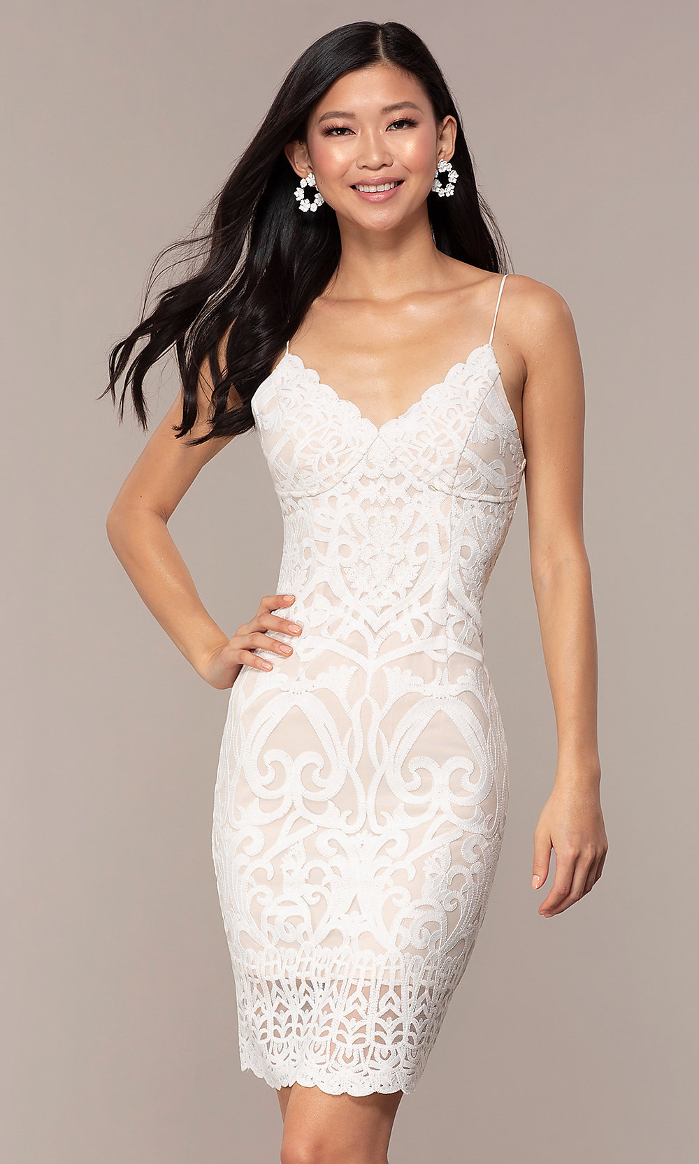White Short Rehearsal Dinner Lace Party Dress