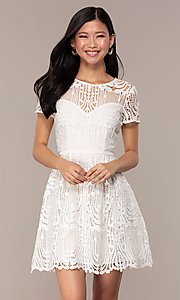 Image of short-sleeve white lace graduation party dress. Style: MT-9655 Front Image