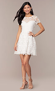 Image of short-sleeve white lace graduation party dress. Style: MT-9655 Detail Image 3