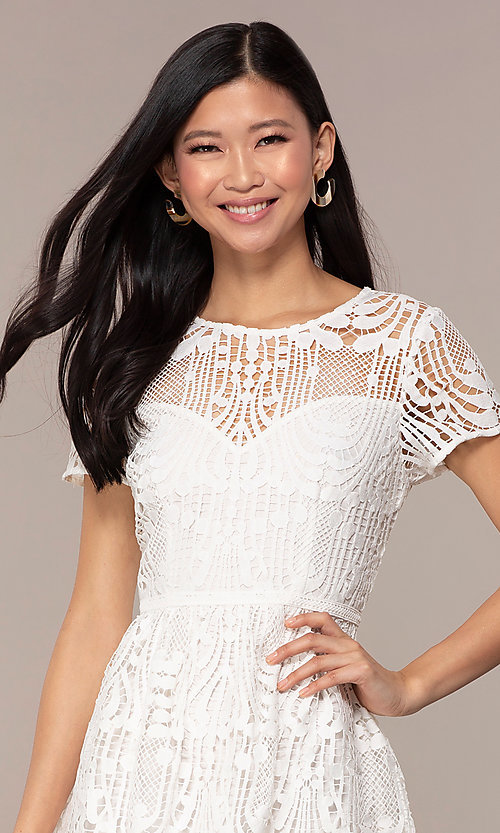 Image of short-sleeve white lace graduation party dress. Style: MT-9655 Detail Image 1