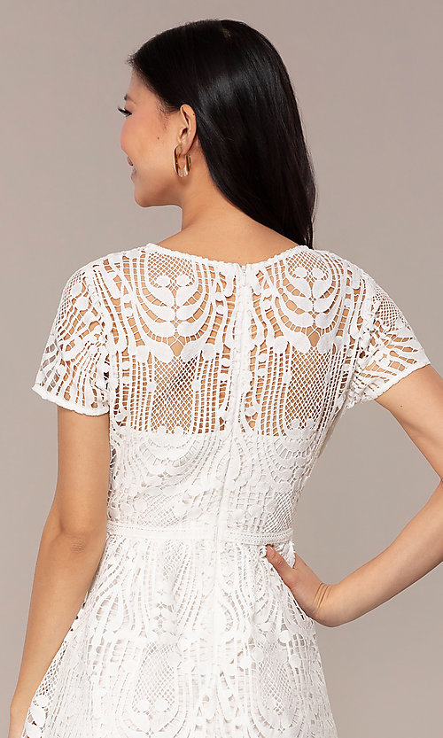 Image of short-sleeve white lace graduation party dress. Style: MT-9655 Detail Image 2